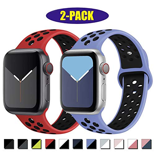 INZAKI Compatibile con Cinturino Apple Watch 42mm 44mm,Cinturino di Ricambio Sportivo in Silicone Traspirante per iWatch Serie 5/4/3/2/1,Nike+,Sport,Impermeabile,S/M,RoyalpulseBlack/RedBlack
