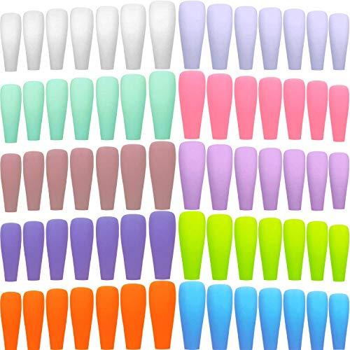 240 Stücke 10 Farben Extra Lang Bunt Matte Falsch Nägel Ballerina Falsch Nägel Vollabdeckung Gefälscht Nägel Sarg Flach Aufdrücken Nägel Sarg Ballerina Nagel für Salon (Frisch und Rein)