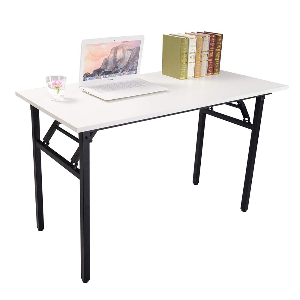 Halter Folding Computer Desk - Foldable Writing & Study Table for Home &  Office Desk Use - White & Black