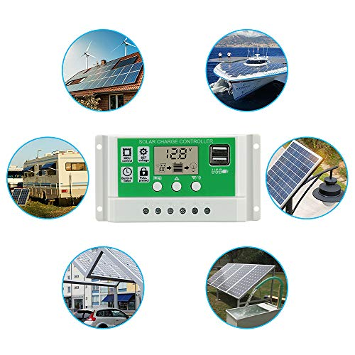 Temank 20A Solar Charge Controller 12V24V Auto, Solar Charge Regulator 20amp Support Lithium/Lead-Acid Batteries, with Adjustable Parameter LCD Display, Dual USB and Timer Setting