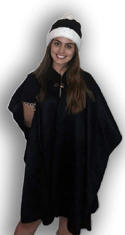 Alpaca Fleece Elegant Poncho Wrap Black