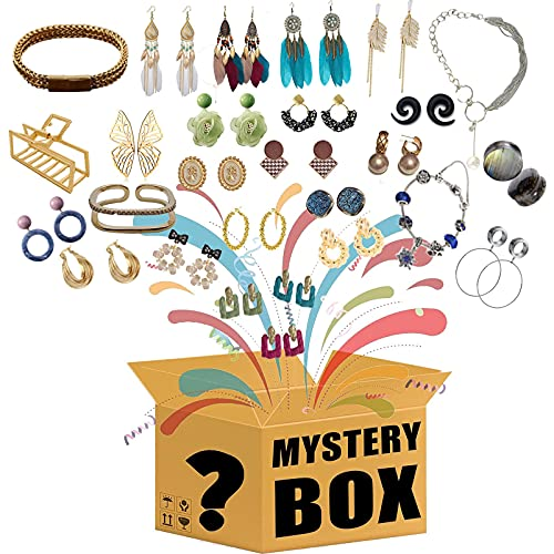 KKSTY Caja misteriosa, Pendientes de joyería al Azar, Collares para Mujer, Pulsera para Mujer, Anillos de Plata, etc. Dése Una Sorpresa, O como Un Regalo para Los Demás