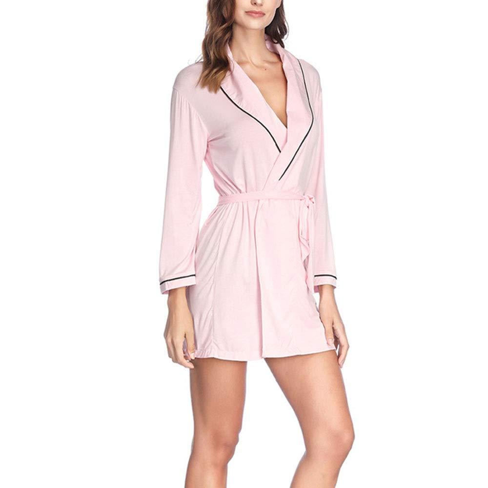 Conjuntos De Pijama para Mujer Bata Larga para Mujer Bata de algodón Bata de Pijama de satén Batas de Seda Suave Y Transpirable Cómodo De Llevar (Color : Pink): Amazon.es: Hogar