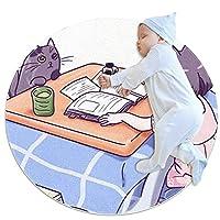 エリアラグ軽量 猫娘 フロアマットソフトカーペット直径39.4インチホームリビングダイニングルームベッドルーム
