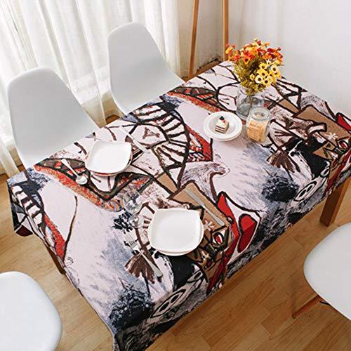 Boho Tablecloth,Mandala Tablecloth,Tablecloth Kitchen Decor Vintage Style Cotton Linen Tablecloth Bar Wedding Party Table Cloth 52