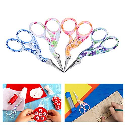 4 piezas de tijeras de bordado, tijeras en forma de grúa, coloridas tijeras de costura de acero inoxidable, punta afilada para bricolaje, costura, costura, manualidades, uso diario