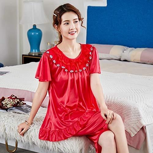 sjzwt M-5xl Talla Grande 100% algodón Pijamas Pijamas Corto Pijamas Conjunto para Mujeres Ropa de Dormir de Verano Ropa de hogar 100kg (Color : Brown, Size : XXL(68 78KG))