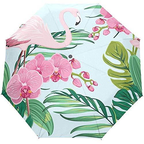 Bloemen Flamingo Bloem Palm Boom Tropische Auto Open Paraplu Zon Regen Paraplu Anti UV Vouwen Compact Automatische Paraplu