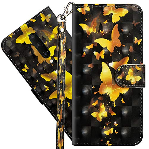 COTDINFORCA Oneplus 7T Pro Wallet Case, Oneplus 7 Pro Case Premium PU Leather 3D Creative Painted Effect Design Full-Body Protective Cover for Oneplus 7T Pro/Oneplus 7 Pro. PU- Golden Butterfly