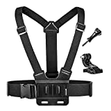 Luxebell Chest Mount Harness Strap for Gopro Hero 8 7 6 5 4 3 3+ Max Session Black Silver Fusion and Sjcam with J-Hook - Fully Adjustable Strap Size