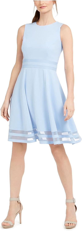 Calvin Klein Women's Sleeveless Round 今だけ限定15%OFFクーポン発行中 Flare Fit ファクトリーアウトレット Dress Neck and