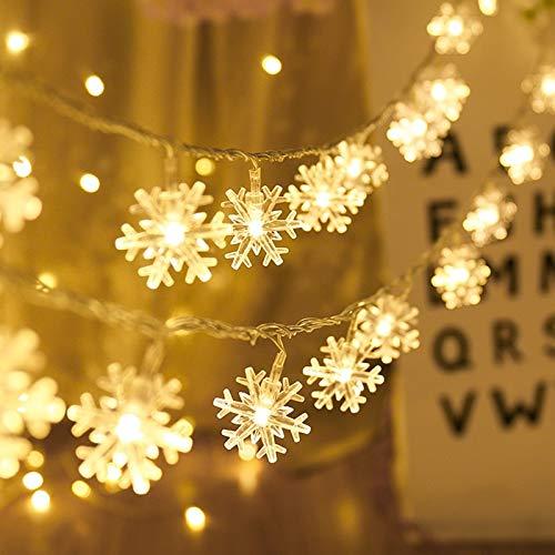 Guirnalda de luces LED, copos de nieve, luces de hadas, iluminación festiva, decoración navideña para el hogar Batería 10m100 leds