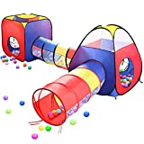 Play Tents Ball Pits, EocuSun 4 in 1 Pop Up Children Toddler Ball Pit House with 2 Tents & 2 Tunnel...