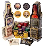 Beers & Bluffs & Blind Tiger, 2 Pack - Alcohol and Gangster 200 Denominated Poker Chip Sets & Playing Cards in Bottle Shaped Tin Case - Las Vegas Casino & Prohibition Theme Novelty Gift Box