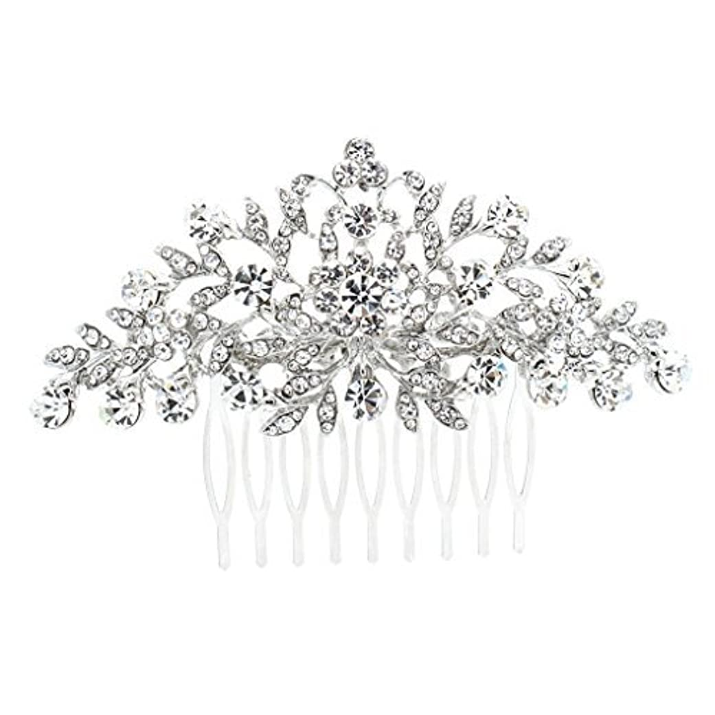 お尻妊娠したイブニングSEPBRDIALS Rhinestone Crystal Hair Comb Pins Women Wedding Hair Jewelry Accessories FA2944 (Silver) [並行輸入品]