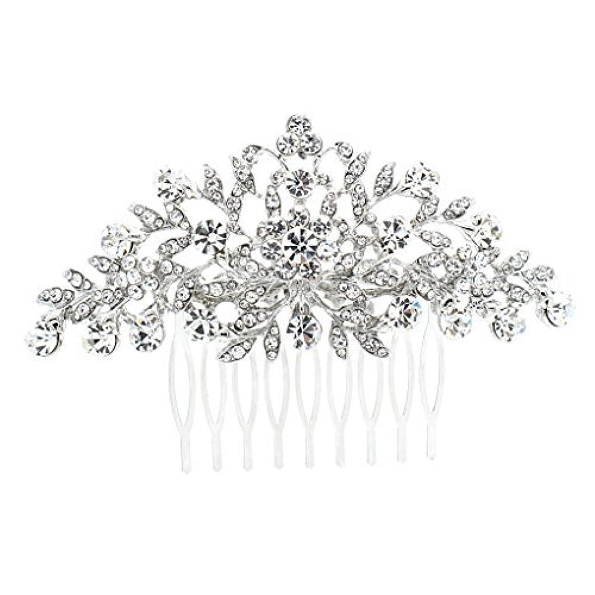 絶滅させるビーム矢じりSEPBRDIALS Rhinestone Crystal Hair Comb Pins Women Wedding Hair Jewelry Accessories FA2944 (Silver) [並行輸入品]