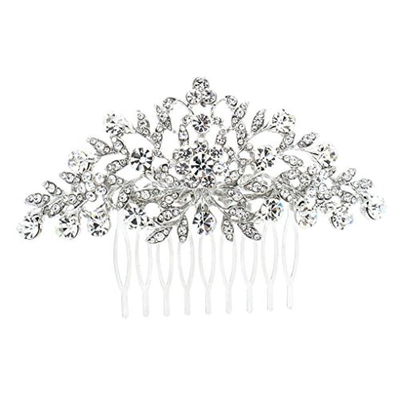 埋め込むポジション疲れたSEPBRDIALS Rhinestone Crystal Hair Comb Pins Women Wedding Hair Jewelry Accessories FA2944 (Silver) [並行輸入品]