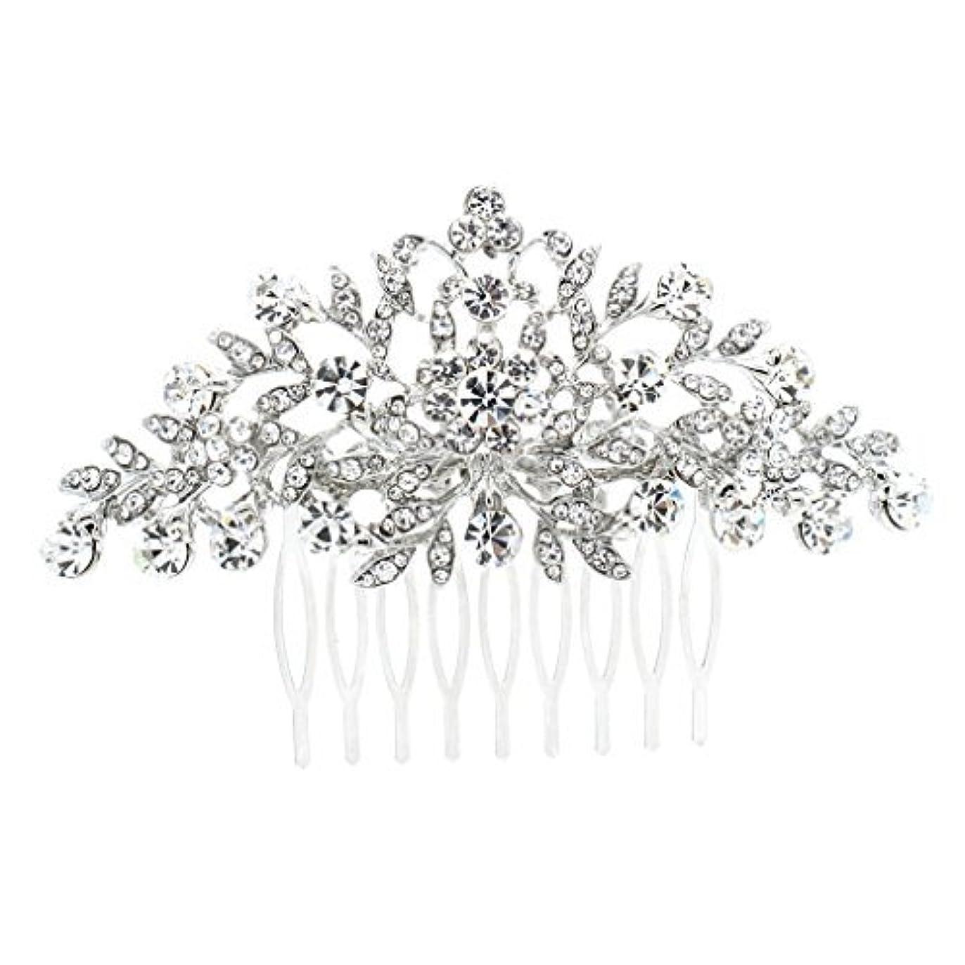 仕出します通信する欺SEPBRDIALS Rhinestone Crystal Hair Comb Pins Women Wedding Hair Jewelry Accessories FA2944 (Silver) [並行輸入品]