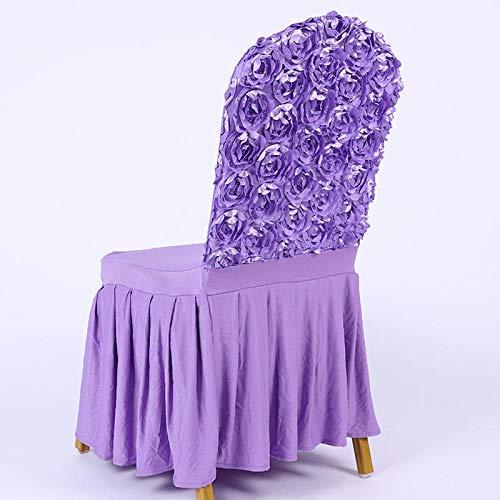 Rose Rok uit één stuk Swing Elastic Chair Cover Back Satin Rose Geborduurde stoelhoes uit één stuk-H_4 stuks