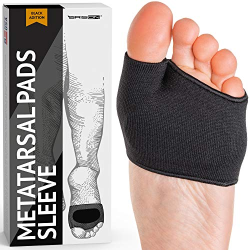 Fabric Metatarsal Pads - Ball of Foot Cushions Support Sleeves Burning Sensations Forefoot Blisters Metatarsalgia Pain Relief Foot Health Care Tight Fitting Feet - Gel Pads for Men Women(Black)