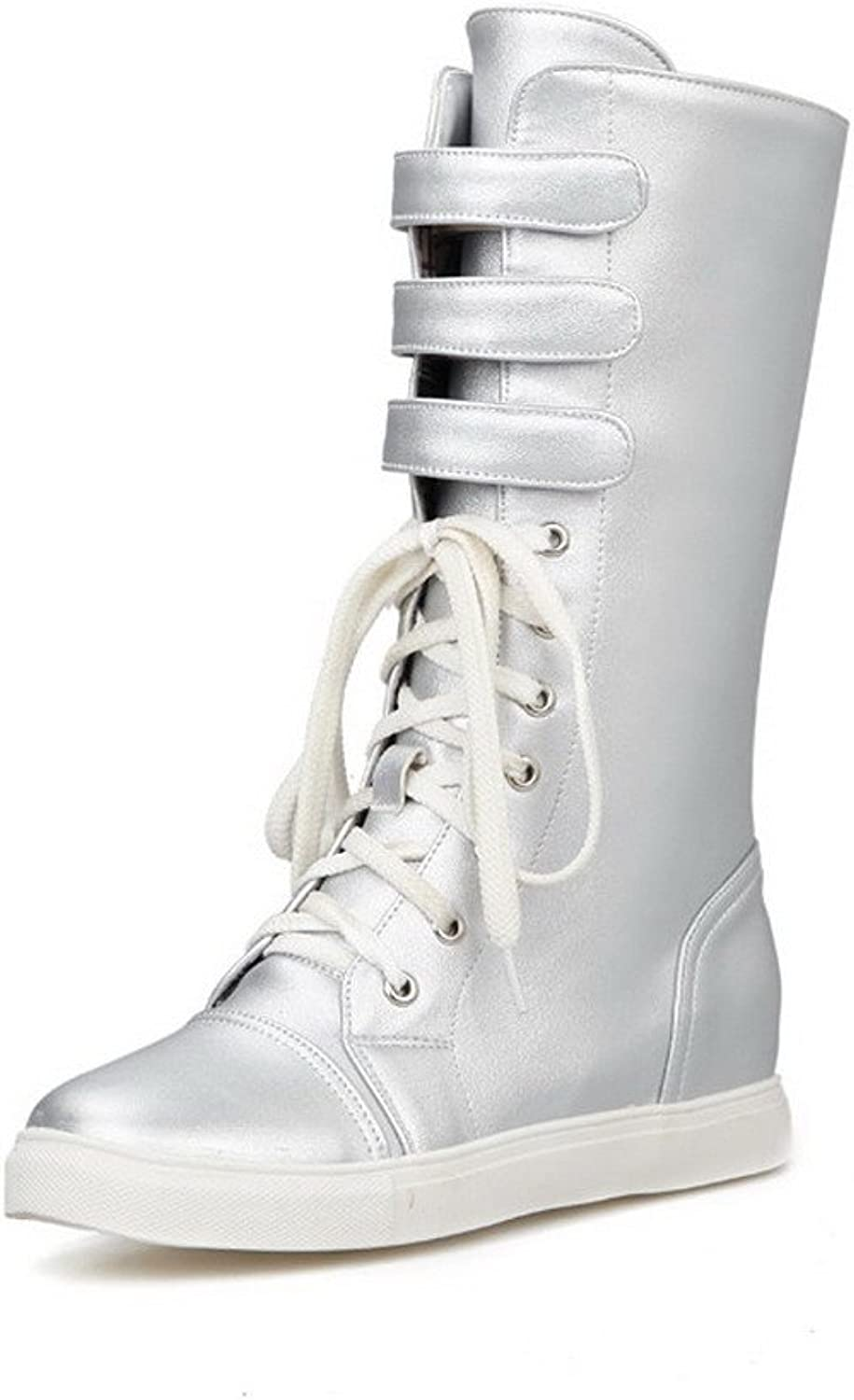 Weenfashion Women's Low-Heels Round Closed Toe Blend Materials Mid-top Boots