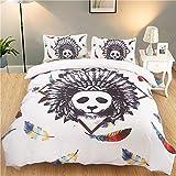 QIANBAOBAO Impresión Digital Textiles para el hogar Ropa de Cama de Tres Piezas-Panda_Quilt Cover 260 * 230 * 1 Funda de Almohada 51 * 95 * 2