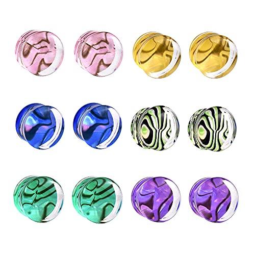 Jboyanpei 12 unids/6 pares multicolor Shell patrón acrílico calibre de oído túneles y tapón de estiramiento de oreja kit expansor piercing joyería tamaño 6 mm a 30 mm, Acrílico, no conocido,