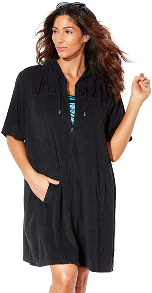 Swimsuits for All Women's Plus Size Alana Terrycloth Cover Up Hoodie
