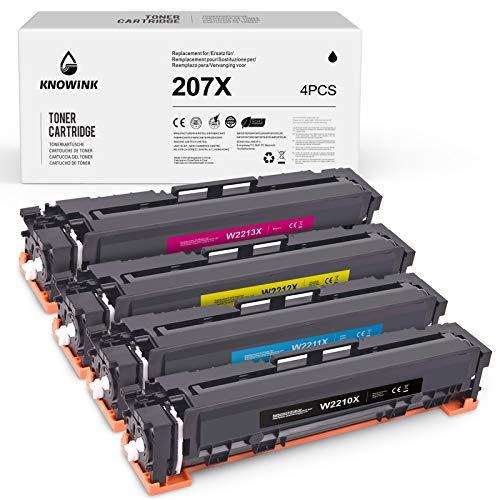 KNOWINK 207X Cartucho de tóner compatible con HP 207X W2210X para HP Color Laserjet Pro M283fdw M255dw MFP M282nw M283cdw (negro/cian/magenta/amarillo,sin chip))