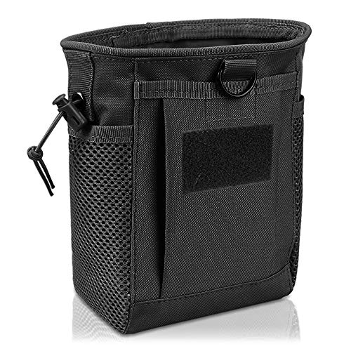 AMYIPO Tactical Hip Holster Bag Outdoor Pouch Molle Drawstring Magazine Dump Pouch, Military Adjustable Belt Utility Pouch (Black)