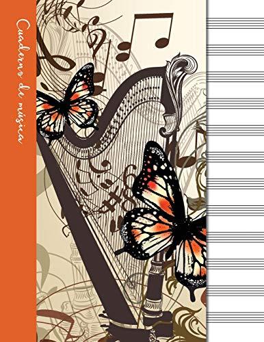 Cuaderno de música: Cuaderno de pentagramas - Cubierta naranja (Cuadernos de música)