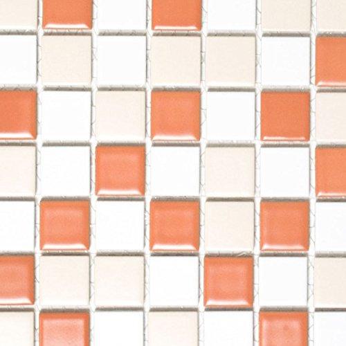 Mosaik Fliese Keramik weiß creme terracotta matt für BODEN WAND BAD WC DUSCHE KÜCHE FLIESENSPIEGEL THEKENVERKLEIDUNG BADEWANNENVERKLEIDUNG Mosaikmatte Mosaikplatte