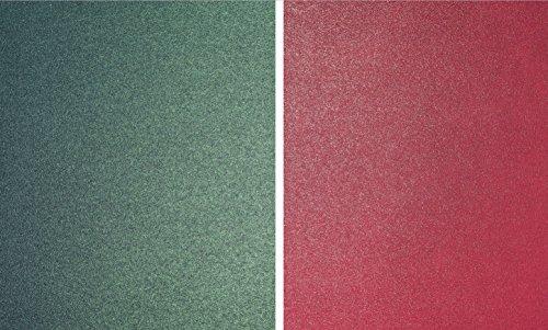 Lot de 10 Chemise A4 Carte de Noël - 290 g/m² de qualité supérieure nacré subtile Shimmer Perle Rouge et vert de 5 feuilles Double face