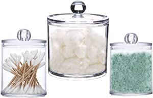 3-piece combination cotton swab pad container, transparent container, cotton ball distributor, plastic medicine container, cosmetic container, bathroom dresser, bathroom container (10oz, 22oz, 39oz)