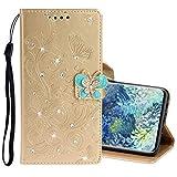 MDYHMC YXCY AYDD per Samsung Galaxy A31 Diamond Imparted Butterflies Embossing Pattern Cassa Orizzontale in Pelle Flip con Supporto e Carte Slot & Portafoglio e Cordino (Color : Gold)