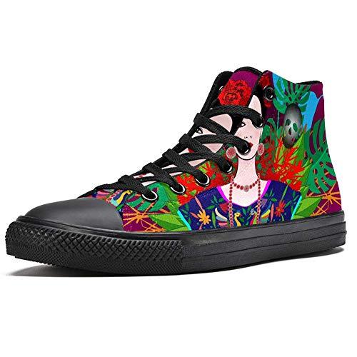 TIZORAX High Top Sneaker für Herren Frida Kahlo mexikanische Frauen Druck Mode Schnürschuh Canvas Schuhe Casual Walking Schuh, Mehrfarbig - mehrfarbig - Größe: 42.5 EU
