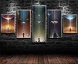 REWE TIK TOK Cuadros para Dormitorios Modernos Juveniles Cartel de la película de Star Wars-A_200 × 100CM 5 Piezas de Lienzo Decoracion Pared Bar Cuadros Abstractos Baratos Salon