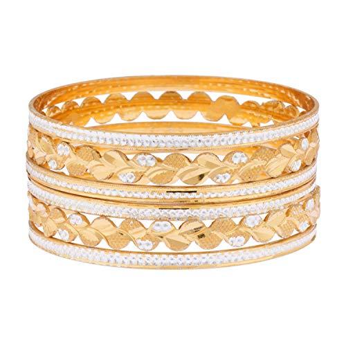Efulgenz Bollywood - Juego de pulseras de boda con diamantes de imitación chapados en oro de 14 quilates