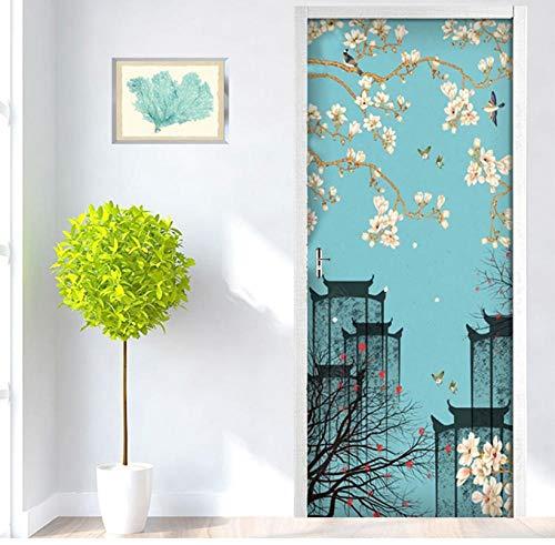 Zelfklevende 3D-sticker, zelfklevend, Chinese retro pruimenarchitectuur, afbeelding, zelfklevend, duurzaam PVC-huisdecoratie, waterdicht kunstwerk, deurstickers 85 * 200cm