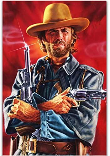 XMYC Cuadros de Pared Clint Eastwood en el forajido Josey Wales póster de película decoración Decorativa Cuadros Impresiones en Lienzo 40x60cm sin Marco