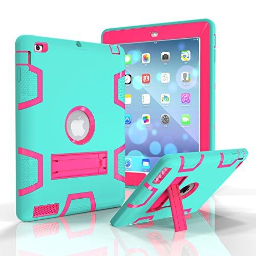 iPad 2/3/4case, Dooge tre strati PC & silicone Defender Heavy Duty ammortizzamento robusto ibrido Full Body custodia protettiva con supporto per Apple iPad 2/iPad 3/iPad 4 Aqua+Hotpink