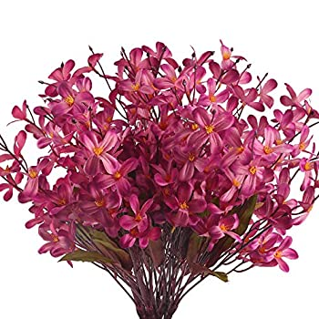 MHMJON 4Pcs Artifical Flowers Orchid Plant Phalaenopsis Flowers Branches Fake Plants Real Touch for Indoor Outdoor Home Kitchen Office DIY Hotel Table Centerpieces Decoration