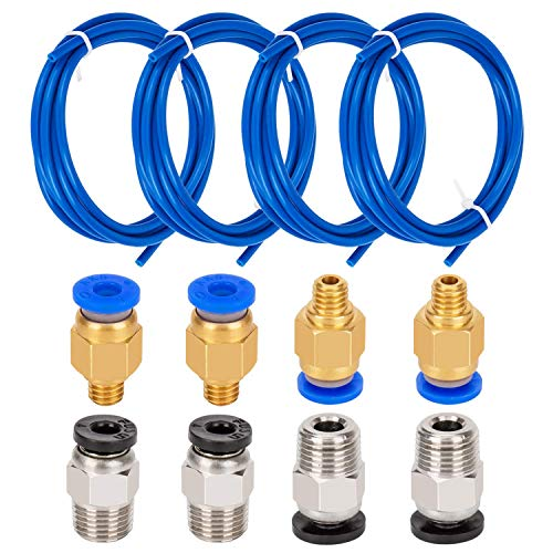 Dasorende 4 Pieces PTFE Tube Ptfe Blue Tubing (1.5M) with 4 Pieces Pc4-M6 Quick Fitting and 4 Pieces Pc4-M10 Straight Pneumatic Fitting Push to Connect for 3D Printer 1.75Mm Filament