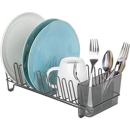 mDesign étendoir à vaisselle en métal – égouttoir à vaisselle pour le plan de travail ou pour l'évier – avec range-couverts de trois pièces en plastique – couleur graphite/gris fumé