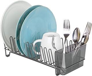 mDesign étendoir à vaisselle en métal – égouttoir à vaisselle pour le plan de travail ou pour l'évier – avec range-couvert...