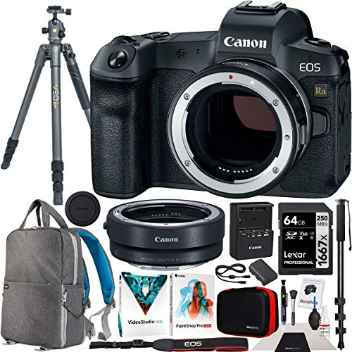 Canon EOS Ra Astrophotography Mirrorless Digital Camera Body 4180C002 Bundle with EF-EOS R Lens Adapter + Vanguard VEO2 Tripod + Deco Gear Backpack Photography Case + 64GB Memory Card and Accessories