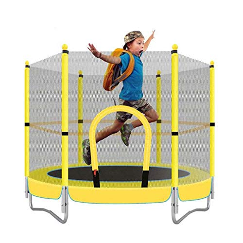 LANGWEI 5Ft Kids Trampoline with Enclosure, Small Jumping Bungee Rebounder Aerobic Exercise Fitness Equipment with Safety Net for Indoor Outdoor Garden