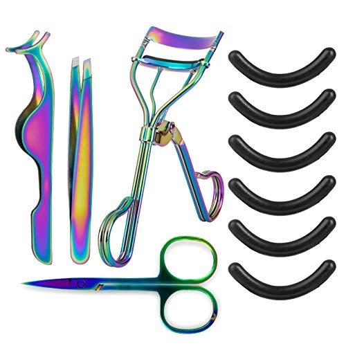 Comius Sharp 5 Pièces Cils Maquillage Kits Cils Curler, Applicateur de Cils, Pince à Cils, Silicone Recharge Pads, Ciseaux à Sourcils en Acier Inoxydable de Maquillage Professionnels (Couleur titane)