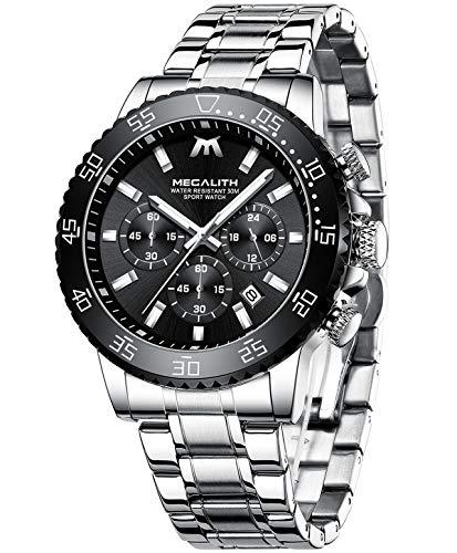 MEGALITH Silber Uhren Herren wasserdichte Analoge Quarz Uhr Chronographen Edelstahl Groß Armbanduhr Männer Uhren Datum Business Uhren für Mann