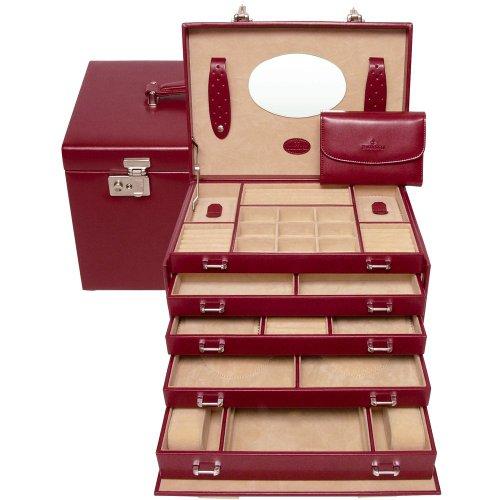 Windrose Merino Schmuck-/ Uhrenkoffer mit Schmucktasche 33 cm rot